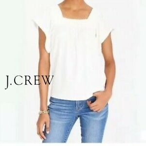 J.Crew Smocked Square Neck Flutter Sleeve Top